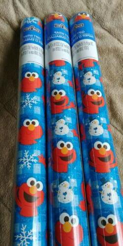 Sesame Street, Elmo Holiday Gift Wrap Wrapping Paper 20Sq ft