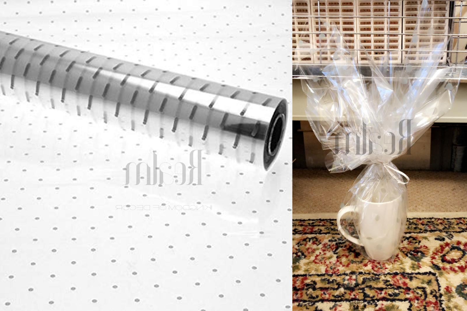 silver doted clear cellophane wrapping gift paper
