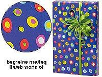 Trendy Brand New Blue Yellow Red Crazy Polka Dot Gift Wrap W