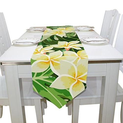 Tropical Floral Print Table Runner, Party, Dinner, Picnic Country Outdoor Home Decor, x 90 inch