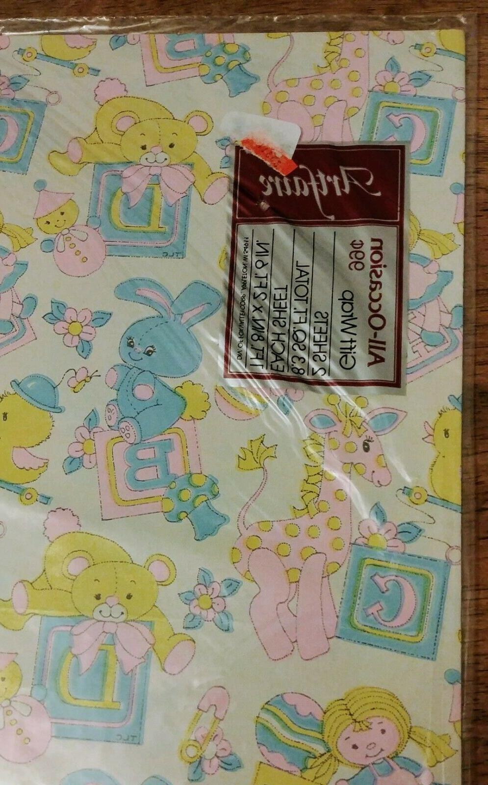 VINTAGE Pastel Bunny Wrap Wrapping NIP