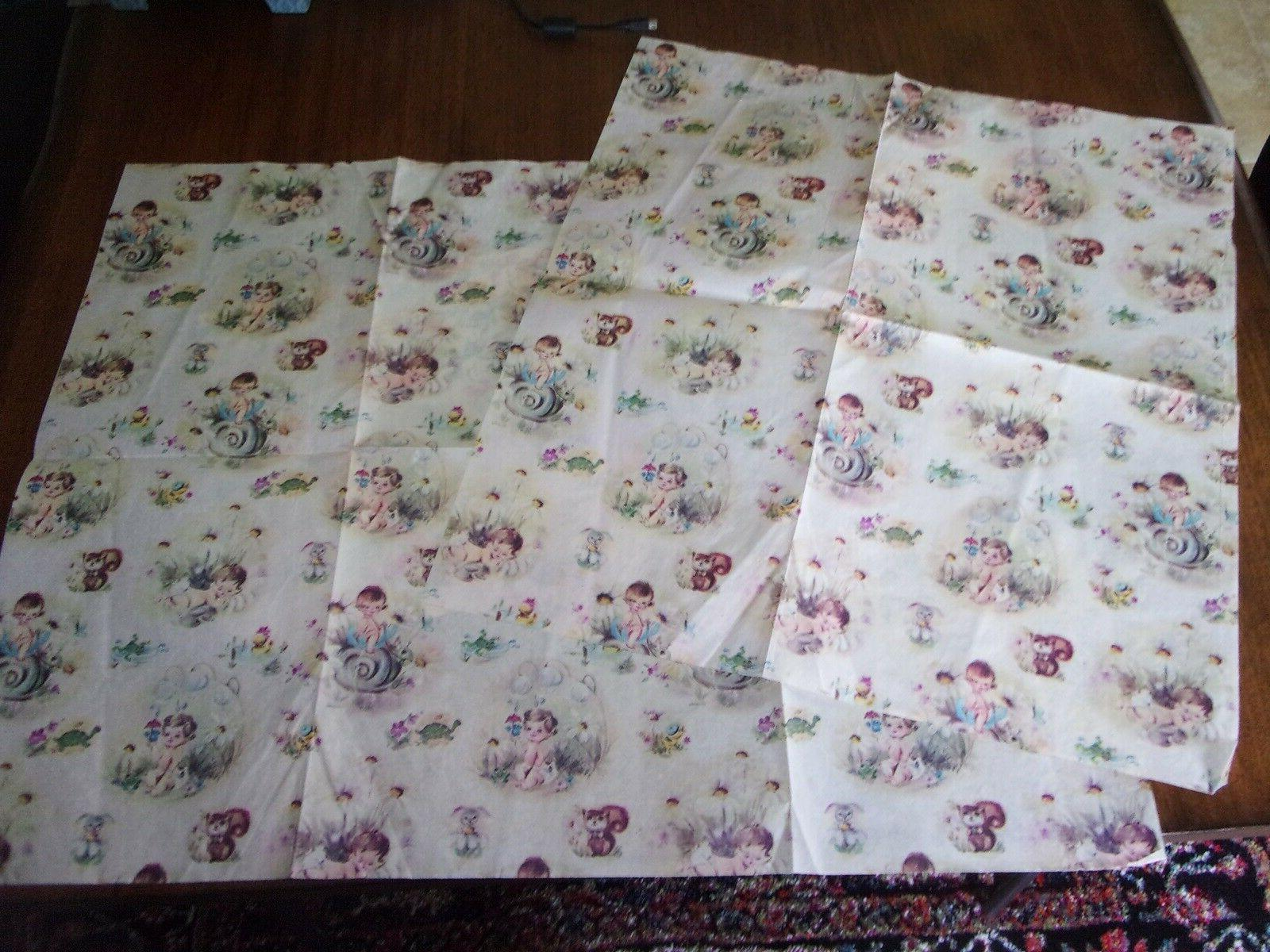 Vintage Baby Shower Gift Wrap Cute Babies Forest of