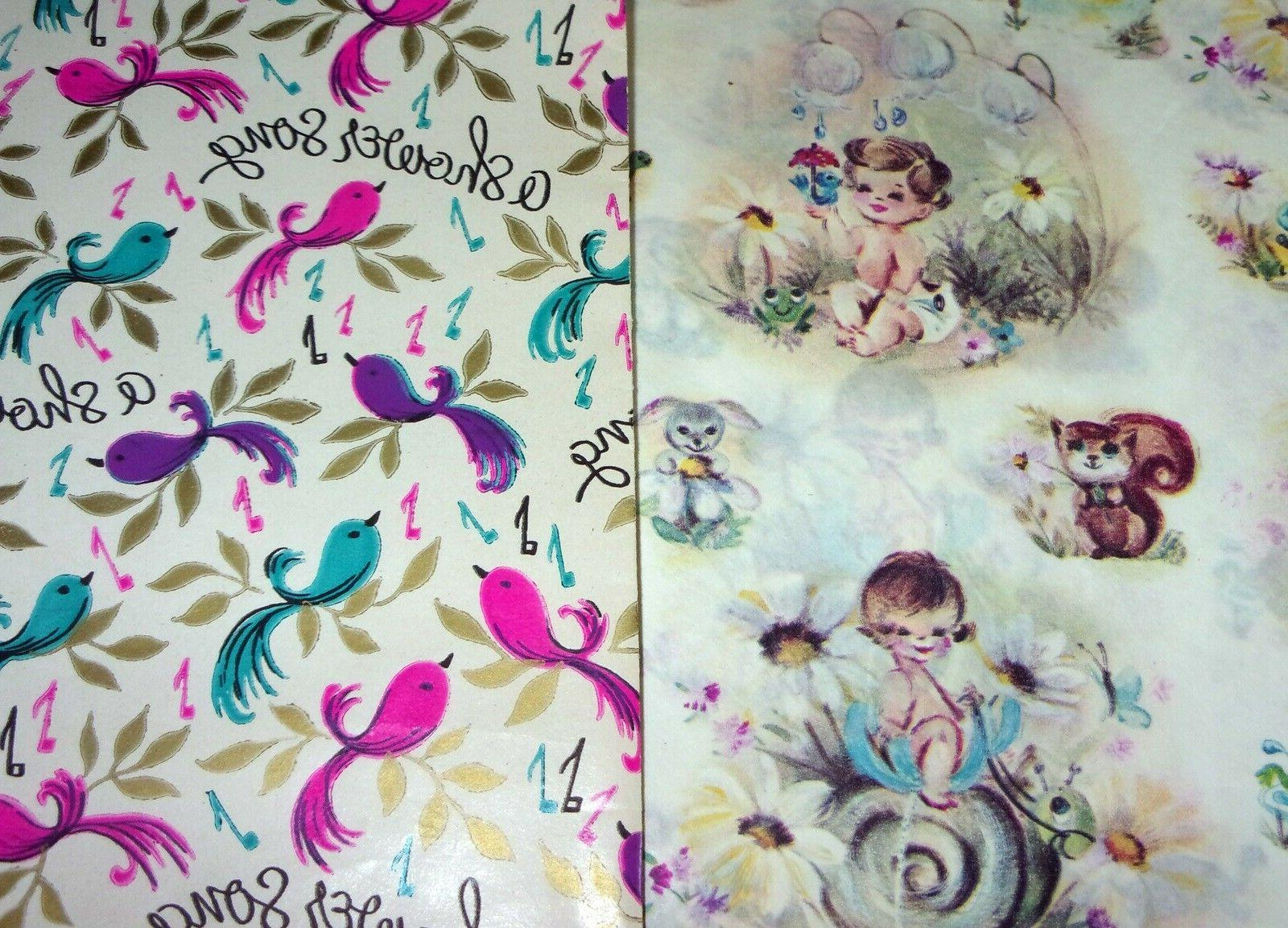 vintage baby shower gift wrap paper cute