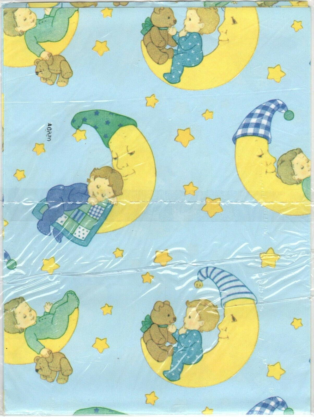 vintage boy and moon gift wrap wrapping