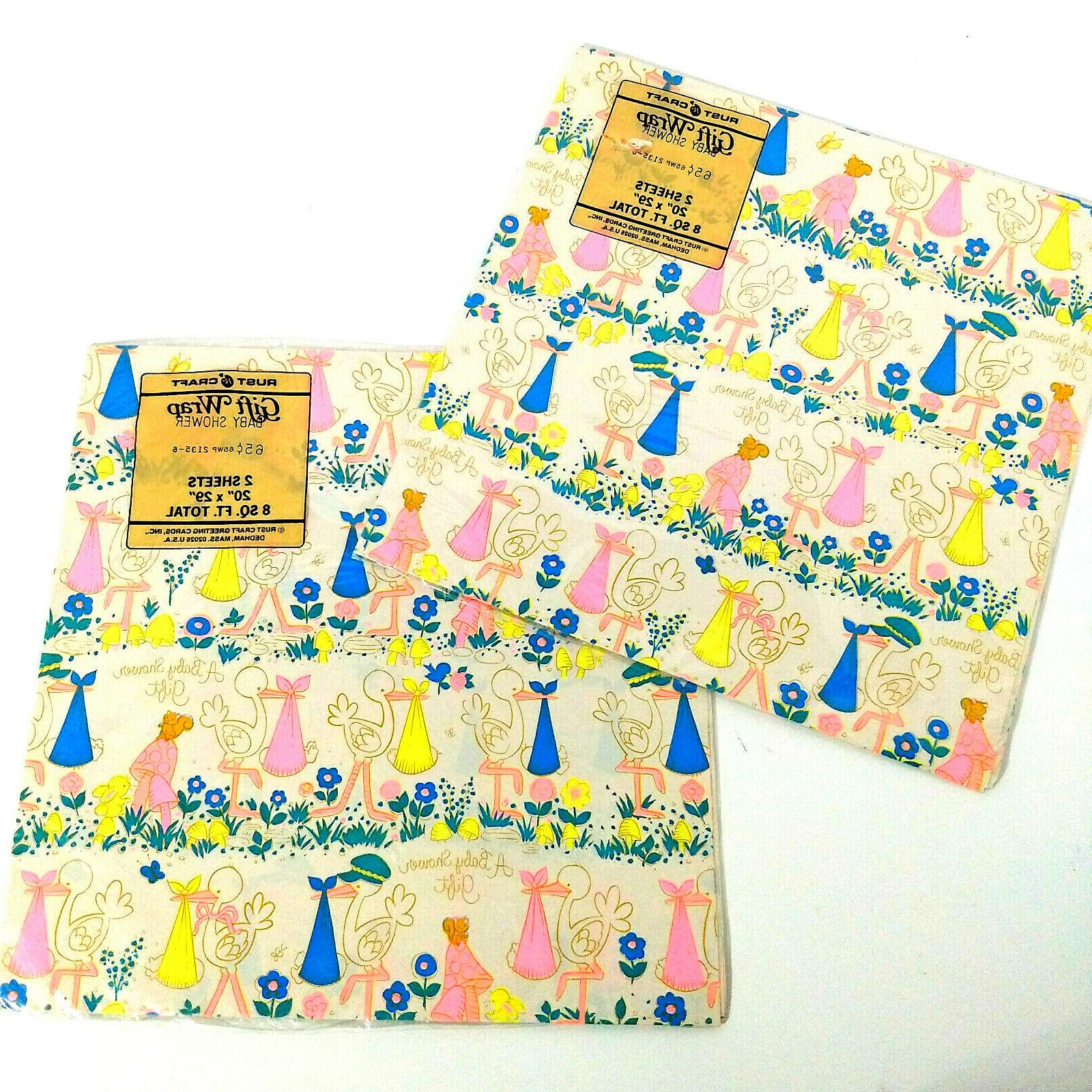 Vintage Wrap Wrapping Paper Shower NOS New
