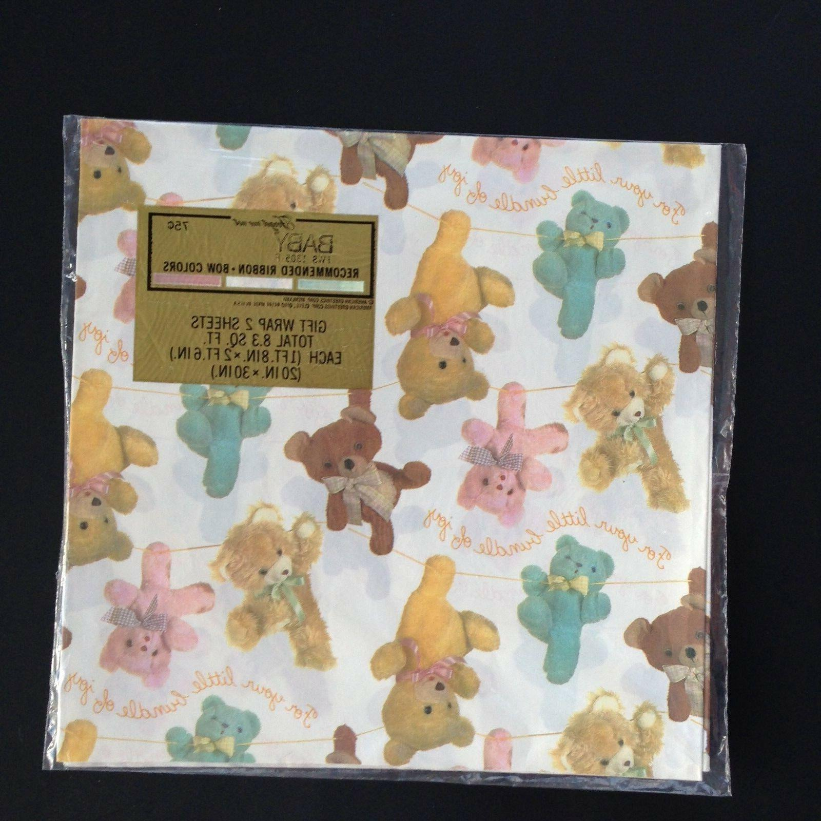 vintage gift wrap wrapping paper baby shower
