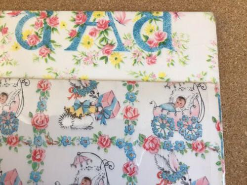 Vintage Paper BABY - Baby Pink Blue Flowers 4 Sheets