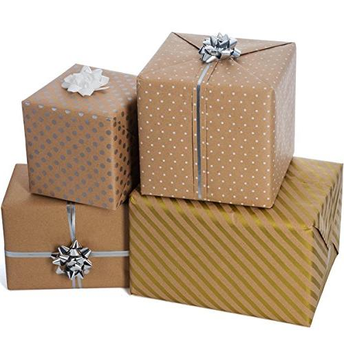 Wrapping - Wrapping Paper - Wrapping Paper Dots and Patterns – Gold Premium - 4 Rolls - ft 10 per Bows, 2 Ribbon