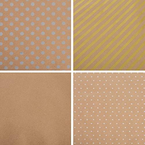 Wrapping Paper Wrapping - Kraft Wrapping with Polka Dots and Patterns Premium Gift 4 Rolls ft per Includes Bows,