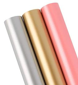 LaRibbbons Gift Wrapping Paper Roll - Solid Matte Pink/Silve