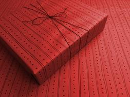 Lines & Dots on Red Gothic Wrapping Paper - up to 8 Feet of