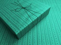 Lines & Dots on Teal Gothic Wrapping Paper - up to 8 Feet of