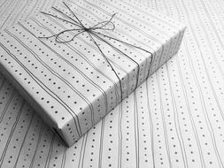 Lines & Dots on White Gothic Wrapping Paper - up to 8 Feet o
