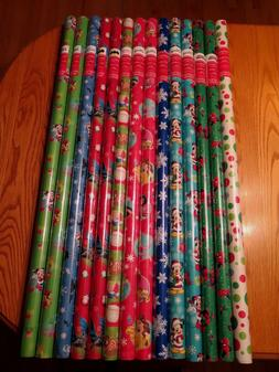 Lot of 14 Christmas Gift Wrapping Paper Rolls Ea 65 sq ft+ =