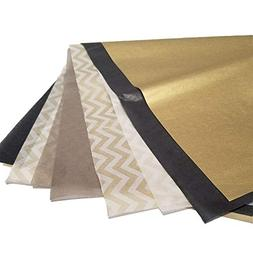 "Metallic Wrapping Tissue Paper Set - 120 Sheets - 14"" x 20"""