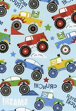 "Monster Trucks Glossy Gift Wrap Flat Sheet - 24"" x 6'"