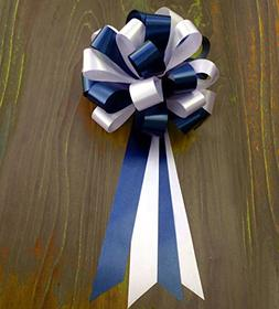 """Navy Blue and White Wedding Pew Pull Bows - 8"""" Wide, Set of"""