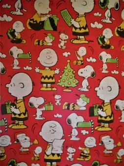 Peanuts Charlie Brown & Snoopy RED Wrapping Paper 2 Yards FO