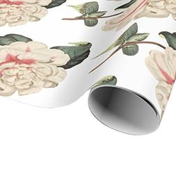 Pink Camellia Flower Wrapping Paper - Vintage Flower Gift Wr
