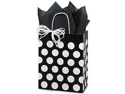 Polka Dot Black Medium Shopper Gift Bag - Quantity of 5