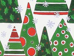 Polka Dot Christmas Trees Holiday Gift Wrap Paper - 16 Foot