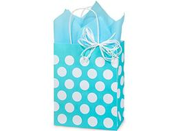 Polka Dot Turquoise Blue Medium Shopper Gift Bag - Quantity