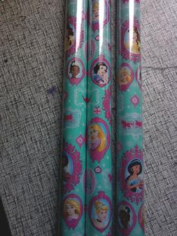 Disney Princess Blue & Pink GIFT WRAP WRAPPING PAPER ROLL 40