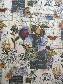 """Provence Gift Wrap - Collage Print Wrapping Paper - 30"""" x 5'"""