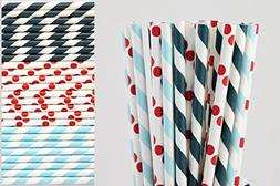 Red, Navy, Light Blue Paper Straw Mix - Striped and Polka Do