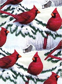 Red Cardinals Heavy Christmas Extra Wide Gift Wrapping Paper