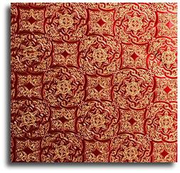 15 Ft Roll Red & Gold Medallion Embossed Gift Wrap Paper - 3