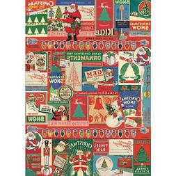 Retro Christmas Decorations Advertising Wrapping Paper Gift