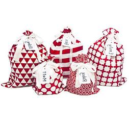 Appleby Lane Fabric Gift Bags  100% Cotton, Set of 5 Bags: T