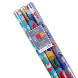 Hallmark Reversible Birthday Wrapping Paper, Celebrate Pack