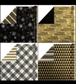 Hallmark Reversible Christmas Wrapping Paper Bundle, Black a