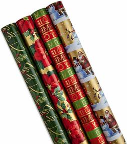 Hallmark Reversible Christmas Wrapping Paper Bundle,  (Pack