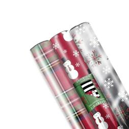 Hallmark Reversible Christmas Wrapping Paper Bundle, Plaid,