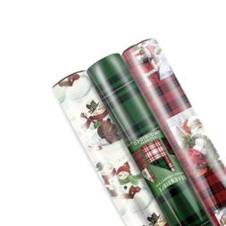 Hallmark Reversible Christmas Wrapping Paper Bundle, Santa P