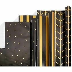 Reversible Gift Wrapping Paper, Black and Gold Foil
