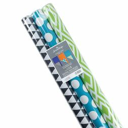 Hallmark Reversible Wrapping Paper, Brights, Prints and Soli