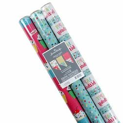 Hallmark Reversible Wrapping Paper Bundle (Birthday Flowers