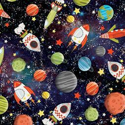 Rocket Ship Planets Galaxy Outerspace Gift Wrapping Paper -