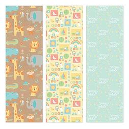 Pack of 3 Rolls of Baby Shower Wrapping Paper 3 Different Gi