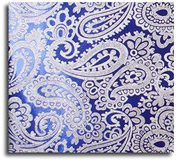 30 Ft Royal & Silver Paisley Embossed Gift Wrap Paper Roll -