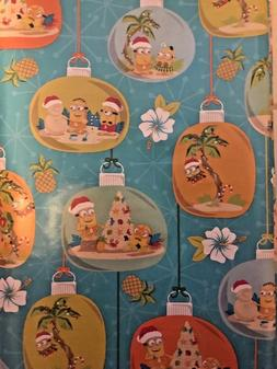 Santa Minions at Beach Gift Wrap Wrapping Paper 20 sq ft-Fre