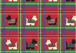 "Scottish Terrier Rolled Christmas Plaid Gift Wrap Paper ""Sco"