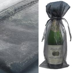 10pcs Silver Bottle & Wine Organza Favor Gift Bags - Fits Mo