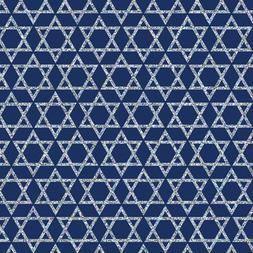 "Silver Stars of David on Blue Gift Wrapping Paper - 24"" x 15"