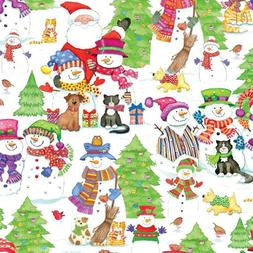 Caspari - Christmas Gift Holiday Wrapping Paper, Snow Friend