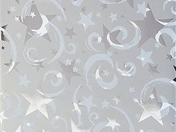 Spinning Silver Stars Metallic Wrap Roll 24 Inch X 15 Feet -